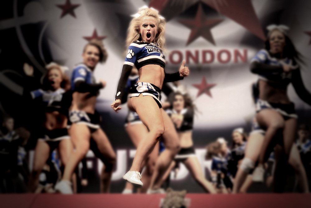 Blonde and fierce cheerleader, dancing on point for the North London Wildcats at Future Cheer Nationals 2012.