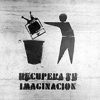 Translation: &quot;GET YOUR IMAGINATION BACK&quot;<br /> <br /> Buenos Aires, Argentina March 2006<br /> Protest, resistance and memory:  The Stencil images in Buenos Aires. <br /> The stencil art takes the streets of the Argentinian capital. Urban artists bomb in silence the city with messages that combine political and social content, imagination and irony.<br /> Photo: Ezequiel Scagnetti