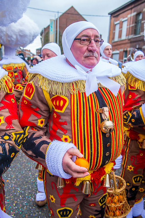 BINCHE , BELGIUM - FEB 28 : Participants in the Binche Carnival in Binche, Belgium on February 28 2017. The Binche carnival is included in a list of intangible heritage by UNESCO.