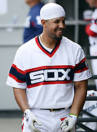 CHICAGO - APRIL 09:  Jose Abreu #79 of the Chicago White Sox looks on from the dugout during the game against the Minnesota Twins on April 9, 2017 at Guaranteed Rate Field in Chicago, Illinois.  (Photo by Ron Vesely)   Subject:  Jose Abreu