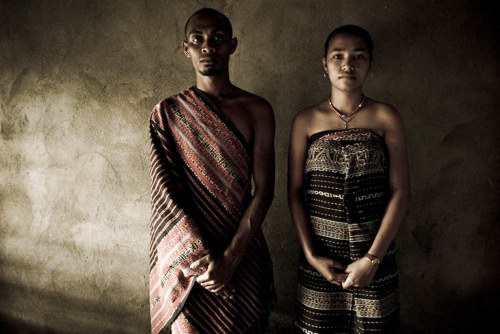 Man and woman from Tutuala wearing the traditional Tais from the region. @ Martine Perret.22 December 2007