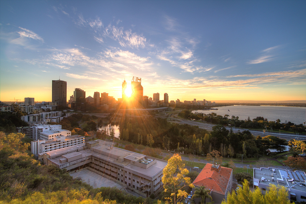 Perth city from Kings Park at sunrise