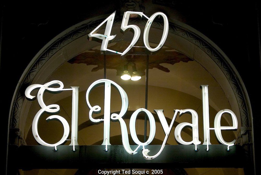 The El Royal on 450 n.Rossmore Ave. , Los Angeles..Not far from the point where Vine Street turns into Rossmore, a tall and elegant row of apartment buildings appears. Mae West owned the Ravenswood and lived in the penthouse until her death in 1980. John F. Kennedy lived in the penthouse of the streamlined classic moderne Mauretania, designed by Milton J. Black for actor Jack Haley (the Tin Man), during the Democratic National Convention in the summer of 1960 and rendezvoused with Marilyn Monroe. And the El Royale in recent years has been called a dormitory for agents and others with entertainment glamour jobs