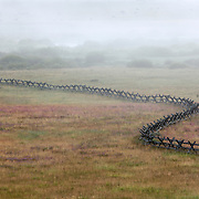 ID00592-00...IDAHO - Fence line in the fog, Sawtooth National Recreation Area.
