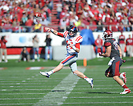 Ole Miss quarterback Bo Wallace (14) vs. Arkansas at War Memorial Stadium in Little Rock, Ark. on Saturday, October 27, 2012. Ole Miss won 30-27...