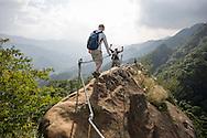 Hiking one of the razorback ridges near Taipei, Taiwan.