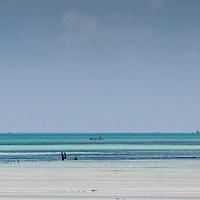 Boats off the coast of Paje beach, Zanzibar