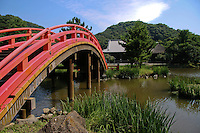"Shomyoji Arched Bridge.  Shomyoji was built by Sanetoki Hojo during the Kamakura period, and was made the Hojo family temple of the Kanazawa area. The Jodo style garden with Ajiike Pond in front of the main temple is its most unique feature when considering the arched bridge. The temple's bell was portrayed in the woodblock print ""Shomyo-no-Bansho,"" one of eight prints depicting views of Kanazawa by Hiroshige Utagawa."