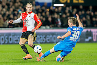 ROTTERDAM - Feyenoord - AZ , Voetbal , Seizoen 2015/2016 , Halve finales KNVB Beker , Stadion de Kuip , 03-03-2016 , tackle van AZ speler Stijn Wuytens (r) op Speler van Feyenoord Rick Karsdorp (l)