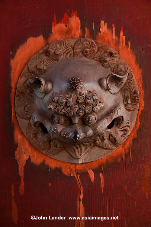 Chinese Lion Door Decoration at Sofukuji Temple in Nagasaki -  Its architecture and design is more Chinese than Japanese, thanks to its history.