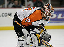 Mar 30, 2007; East Rutherford, NJ, USA; Philadelphia Flyers goalie Martin Biron (43)during the third period at Continental Airlines Arena in East Rutherford, NJ.