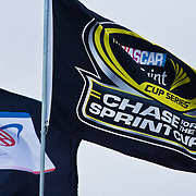 Sprint Cup Series flag flies Sunday, Oct. 02, 2011 at Dover International Speedway in Dover Delaware.
