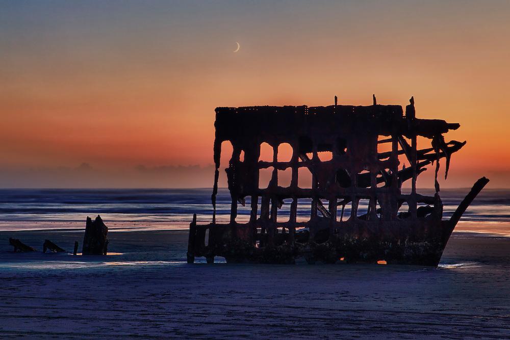 Peter Iredale Shipwreck Silhouette & Crescent Moon - Dusk - Oregon Coast