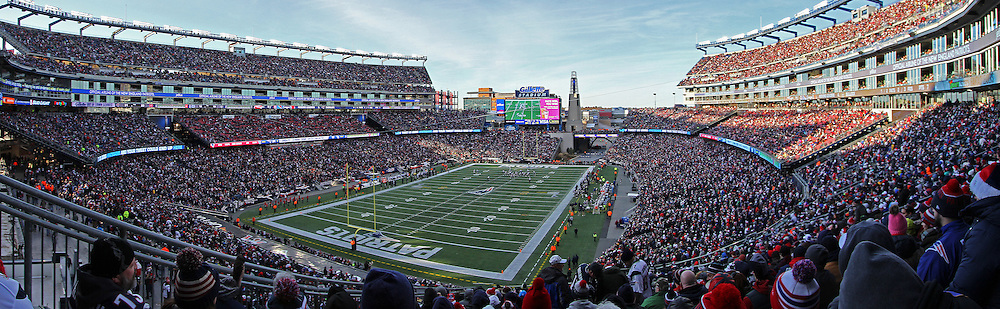 Gillette Stadium panorama photography images are available as museum quality photography prints, canvas prints, acrylic prints or metal prints. Prints may be framed and matted to the individual liking and decorating needs:<br />
