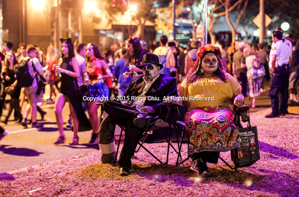 Hundreds of thousands of Halloween revelers attend the West Hollywood Halloween costume carnival on October 31, 2015. The world-famous costume party on Santa Monica Boulevard, the celebration is the largest adult outdoor Halloween event in the world. (Photo by Ringo Chiu/PHOTOFORMULA.com)<br /> <br /> Usage Notes: This content is intended for editorial use only. For other uses, additional clearances may be required.