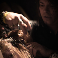 02/12/12 West Chester PA: Stylist J. Christian of J. Christian studio in Hockessin Delaware working on an unknown model hair during Open Chair 11 Sunday, Feb. 12, 2012 at The Note in West Chester Pennsylvania.<br /> <br /> Special to Monsterphoto/SAQUAN STIMPSON