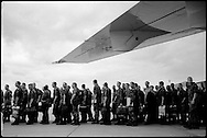 German soldiers preparing to board a flight to Kosovo.