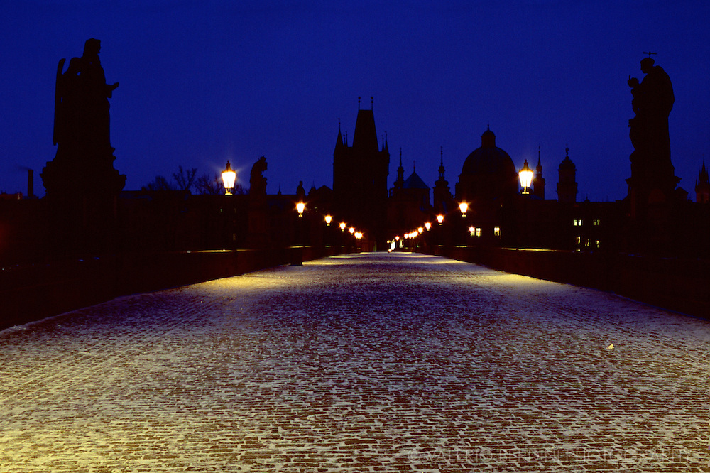 Charles Bridge in Prague shot on a freezing January morning on 35mm slide film.