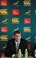 CAPE TOWN, SOUTH AFRICA - Thursday 25 April 2013, Dawie Theron, coach, during the official team announcement at SARU House, of the Springbok u/20 rugby team to represent South Africa in the IRB Junior World Championship (JWC) in France during the month of June. .Photo by Roger Sedres/ImageSA