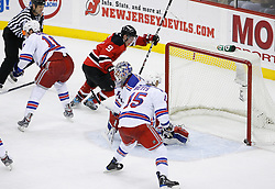 Feb 9, 2009; Newark, NJ, USA; New Jersey Devils left wing Zach Parise (9) celebrates his goal during the second period at the Prudential Center.