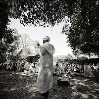 A Muslim leader speaks to his community about the balance of western medicine and traditional healing methods. He encourages a balanced approach. Near Bahir Dar, Ethiopia.