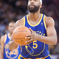 08 April 2008: Golden State Warriors guard Baron Davis is seen at the free throw line during the Golden State Warriors 140-132 victory over the Sacramento Kings at the Oracle  Arena, in Oakland, California, USA.