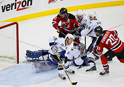 Nov 5, 2008; Newark, NJ, USA; New Jersey Devils left wing Jay Pandolfo (20) scores a goal past Tampa Bay Lightning right wing Martin St. Louis (26) and Tampa Bay Lightning goalie Mike Smith (41) during the third period at the Prudential Center.