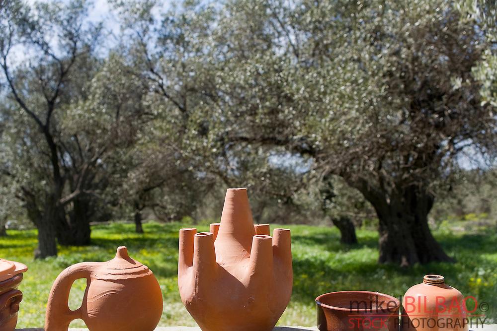 Olive grove and pottery.<br /> Naxos island. Cyclades islands, Aegean Sea, Greece, Europe.