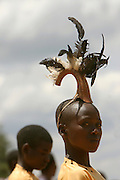 Young boy dressed for a traditional ceremony in  East Burundi- Africa..24 octobre 2005. Photo by Martine Perret