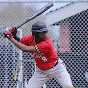 William Penn Outfielder Zachariah Burton (8) at bat during of a varsity scheduled game between the Colonials of William Penn and The St. Elizabeth Vikings Saturday, April 25, 2015, at William Penn High School baseball field in New Castle Delaware.<br /> <br /> William Penn defeats St. Elizabeth 6-5