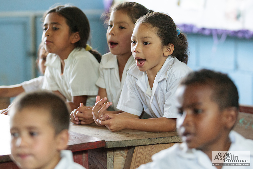 Children attend class at the primary school in the town of Coyolito, Honduras on Wednesday April 24, 2013.