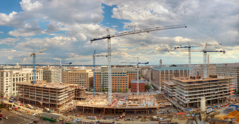 Construction cranes fill the sky over the CityCenterDC site in June of 2012.  The Capitol and Washington Monument are within the view.<br /> Print Size (in inches): 15x7.5; 24x12.5; 36x18.5; 48x25; 60x31; 72x37