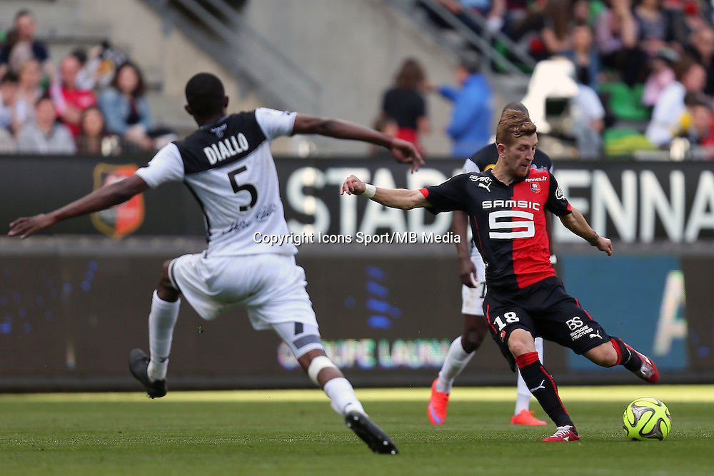 Pedro HENRIQUE / Moustapha DIALLO - 12.04.2015 - Rennes / Guingamp - 32eme journee de Ligue 1 <br />