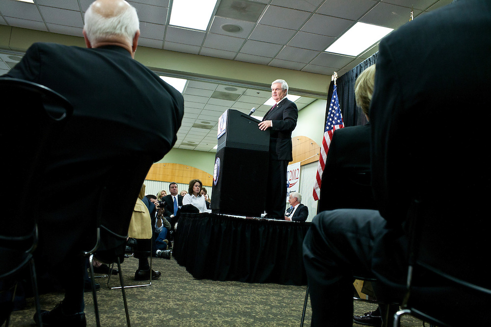 Republican presidential candidate Newt Gingrich speaks to the Polk County Republican Party's Robb Kelley Victory Club dinner on Thursday, December 1, 2011 in Johnston, IA.