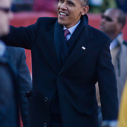President Obama walking the sidelines during the 112th version of the Army & Navy rivalry for the first as Commander-In-Chief Saturday, Dec. 10, 2011 at Fed EX field in Landover Md. ..Navy set the tone early in the game as Navy defeats Army 31-17 in front of 82,000 at Fed EX Field in Landover Md