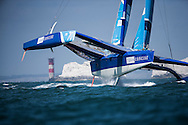 Image licensed to Lloyd Images <br /> Pictures of the new Team Concise MOD70 trimaran skippered by Ned Collier Wakefield (GBR) in action  during a training session in the Solent. UK<br /> Credit: Lloyd Images