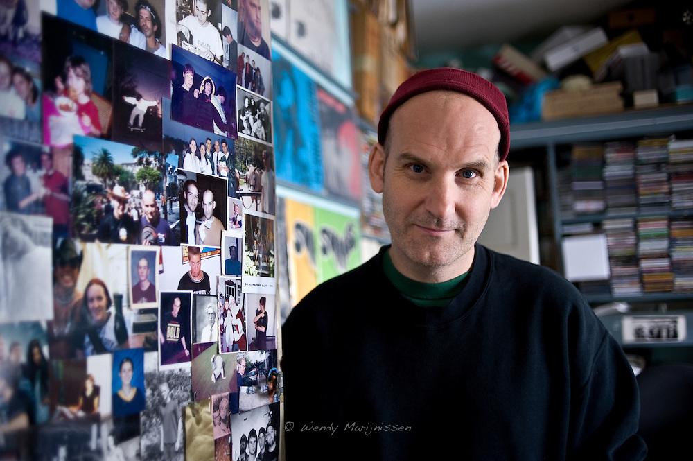 Ian MacKaye from Fugazi and The Evens, outside Dischord house in Arlington Virginia, USA