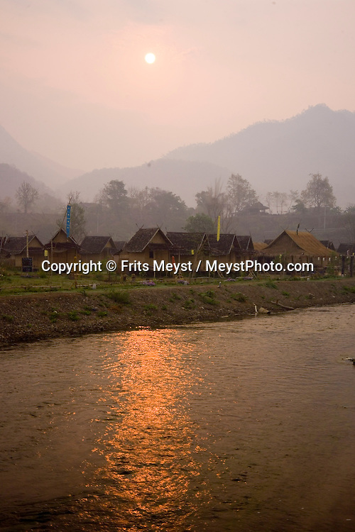 Pai, Mae Hong Son, Thailand, March 2007. Primitive bamboo huts on the river, make for an idyllic overnight. The village of Pai is a meeting point for many independent travellers. From here one can undertake multiple day treks through the jungle to the Hilltribe villages. Photo by Frits Meyst/Adventure4ever.com