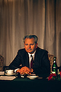 Serbian dictator and President Slobodan Milosevic, 1991. At a meeting of the heads of the states constituting the former Yugoslavia, in 1991 at the beginning of the troubles the engulfed the region.