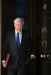 © Licensed to London News Pictures. 25/04/2017. London, UK. Michael Fallon, Secretary of State for Defence, leaves Downing Street after attending the penultimate Cabinet meeting ahead of the election on June 8th, 2016. Photo credit: Peter Macdiarmid/LNP