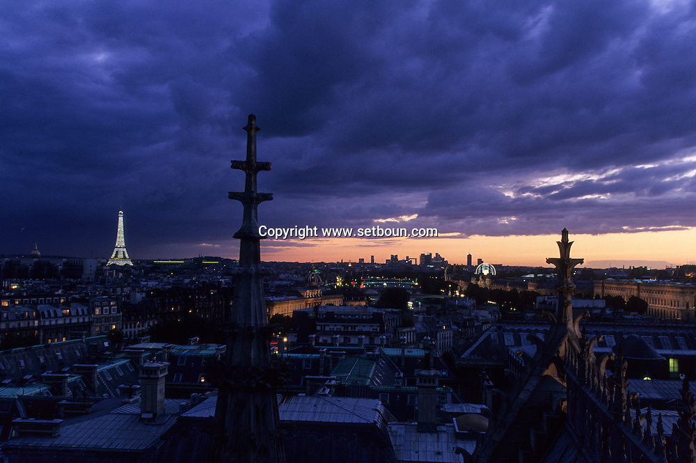 France. Paris. elevated view. Paris, the eiffel tower, the justice palace, the Seine river  . view from the Sainte Chapelle