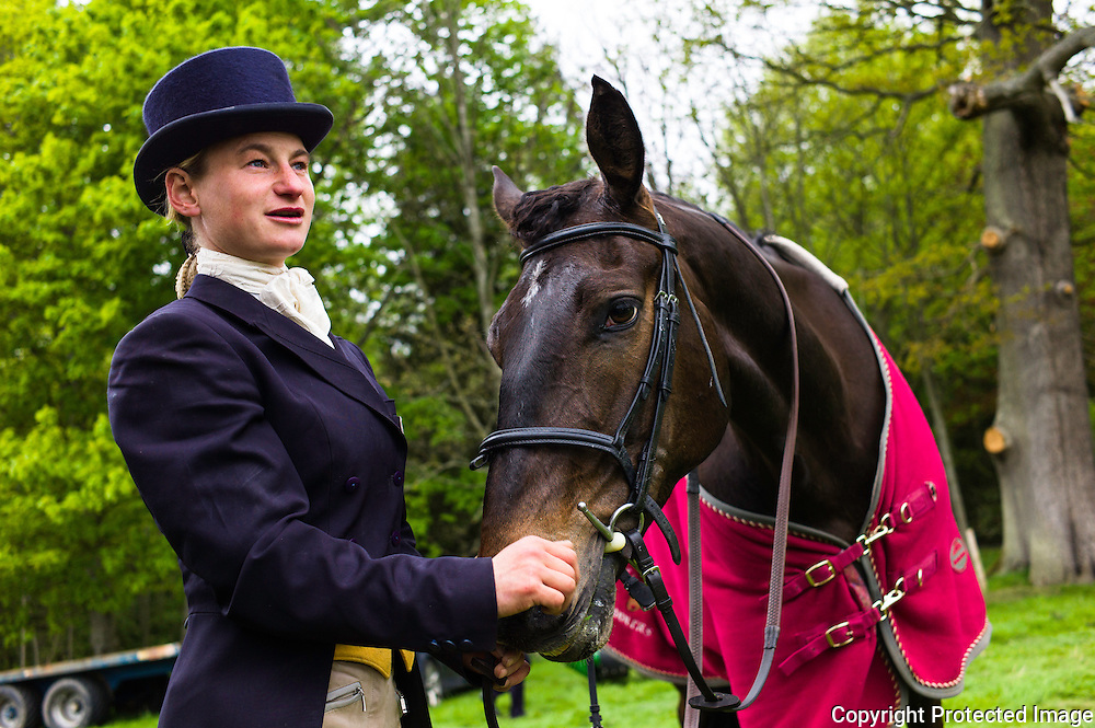 Floors Castle, Kelso, Roxburghshire, UK. 14th May 2015. Four Star eventer Emily Galbraith from the Scottish Borders with 'Ted' on home turf at the Floors Castle Horse Trials in Kelso during the dressage category.