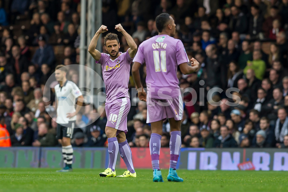 Orlando Sá of Reading celebrates the second goal of his team during the Sky Bet Championship match between Fulham and Reading at Craven Cottage, London, England on 24 October 2015. Photo by Salvio Calabrese.