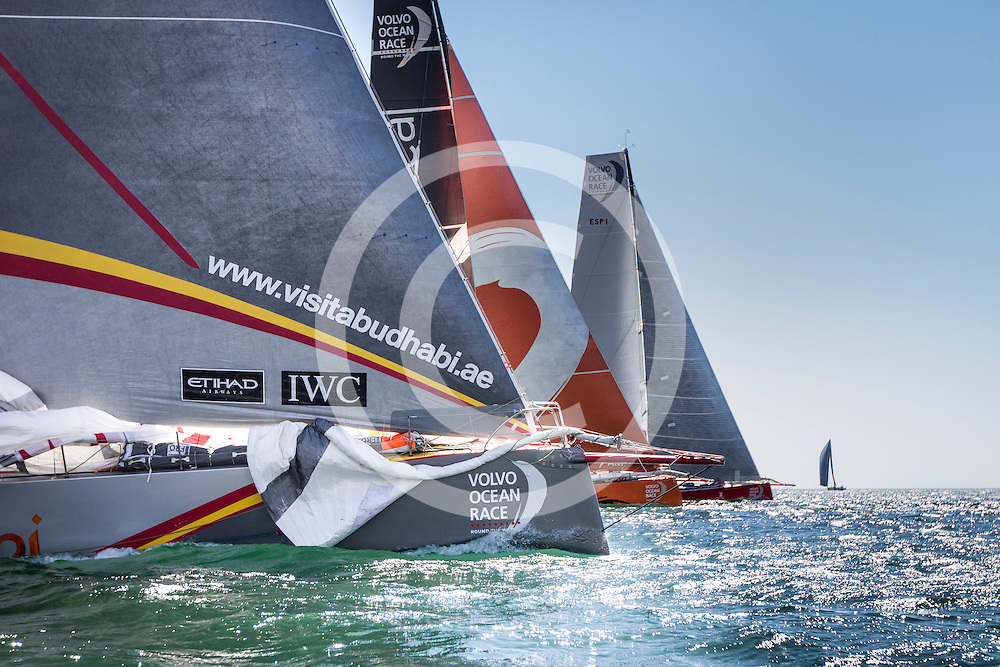 September 12, 2014. The fleet sail during the start of Leg 0, a practice leg ahead of the start of the Volvo Ocean Race 2014-15 from Alicante to Mallorca and back.