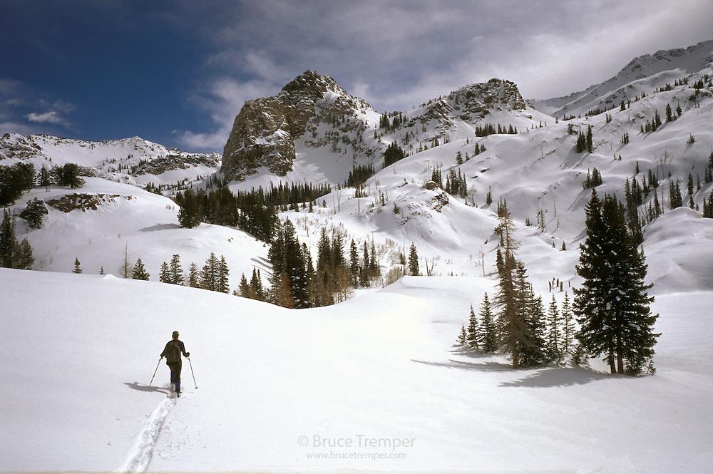 Bill Lockhart skis up Mill B South in the Wasatch Range, Utah