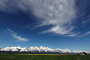 View of the mountains from Mormon Row in Grand Teton National Park, Wyoming, USA