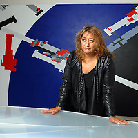 UK. London. Baghdad born architect Zaha Hadid in her apartment in Clerkenwell, Central London. In 2004 Zaha became the first female recipient of the Pritzker Architecture prize..Photo©Steve Forrest/Workers' Photos.