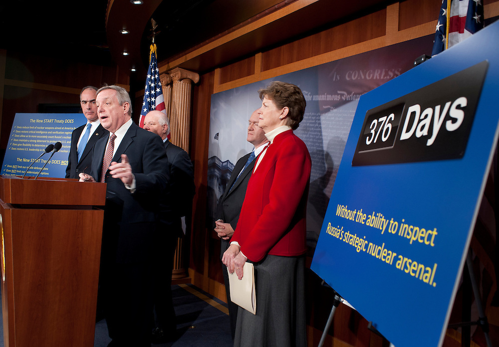 """Dec 16, 2010 - Washington, District of Columbia, U.S. -  Senator JEANNE SHAHEEN (D-NH) Senator BOB CASEY, D-PA) Senator BEN CARDIN (D-MD) Senator CHRIS COONS (D-DE) and Senator DICK DURBIN (D-IL) hold a news conference to discuss the """"importance of ratifying the New Strategic Arms Reduction Treaty (START Treaty) now and rebut arguments for its delay."""" (Credit Image: © Pete Marovich/ZUMA Press)"""