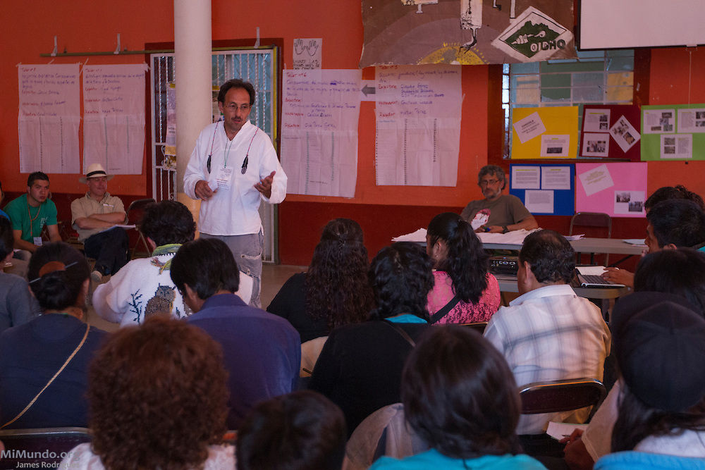 Miguel Mijangos, co-founding member of the Mexican Network of Mining-Affected Peoples (REMA, for its initials in Spanish) and the M4 movement (Mesoamerican Movement against the Mining extractive Model) speaks during the 2014 REMA Encounter. Hundreds of people from mining-affected communities throughout Mexico gathered for three days to exchange experiences, renew alliances and discuss strategies. Tlamanca, Zautla, Puebla, México. March 15, 2014.