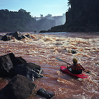Kayaking in Iguaçu falls, Brazil.